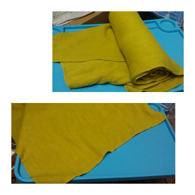 芥末黃寬版圍巾