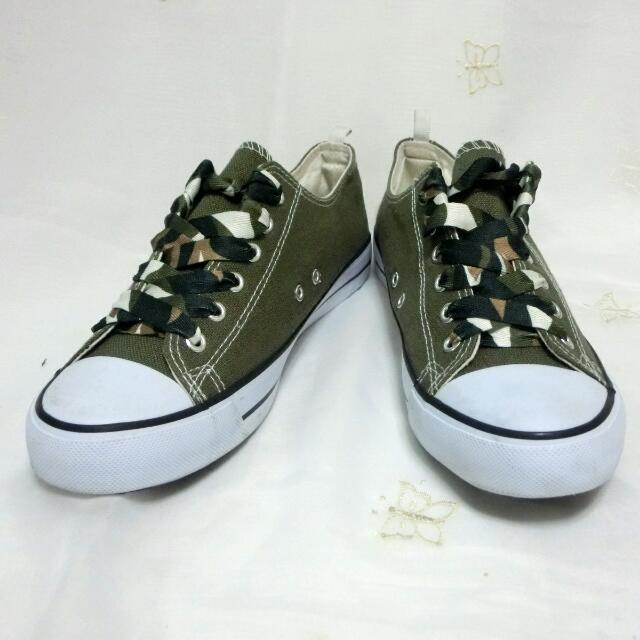 墨綠迷彩鞋帶帆布鞋 41