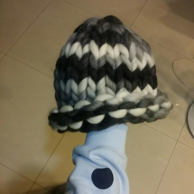 手工粗針織帽 精靈帽