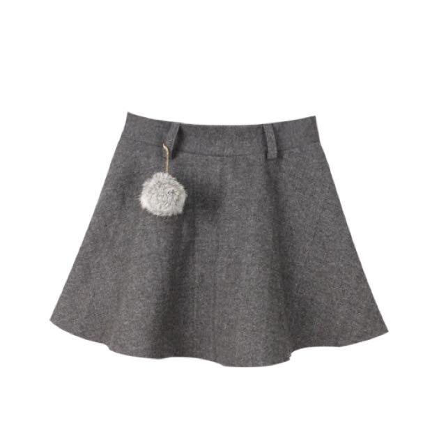 毛呢短裙 灰色裙 (有安全褲)