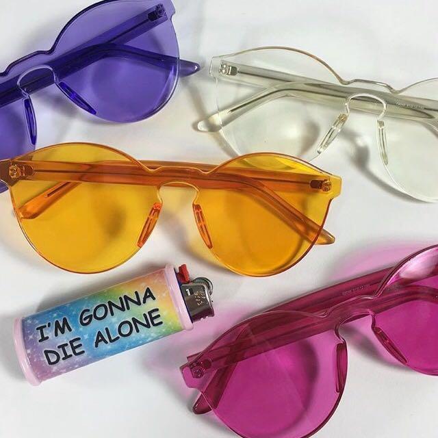 Sold Out!歐美 無框 透明 粉色 個性 墨鏡 太陽眼鏡
