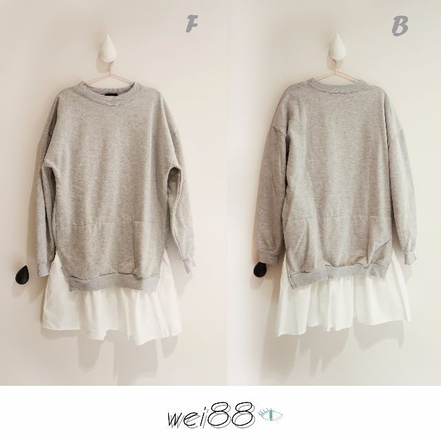 韓系長版休閒衣  休閒風 寬鬆感 灰色假兩件長版T