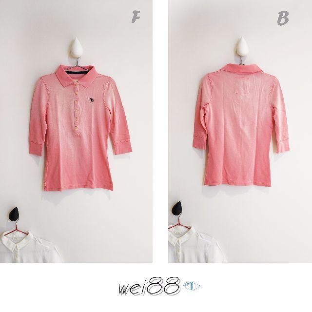 ☀SUMMER下殺6☀正版 A.T abercrombie  粉紅漸層彈性短5分袖POLO 衫