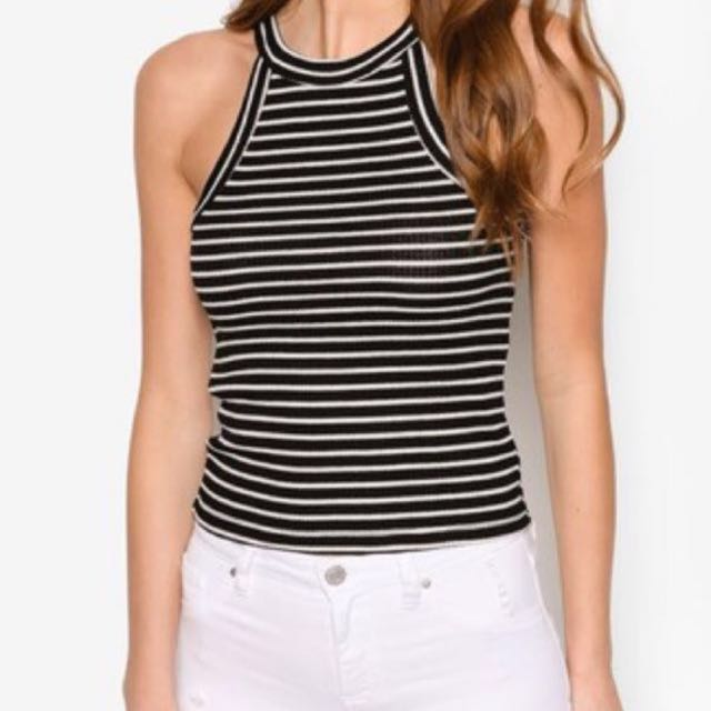 5846036b15 BNWT factorie ribbed black and white striped halter (pending ...
