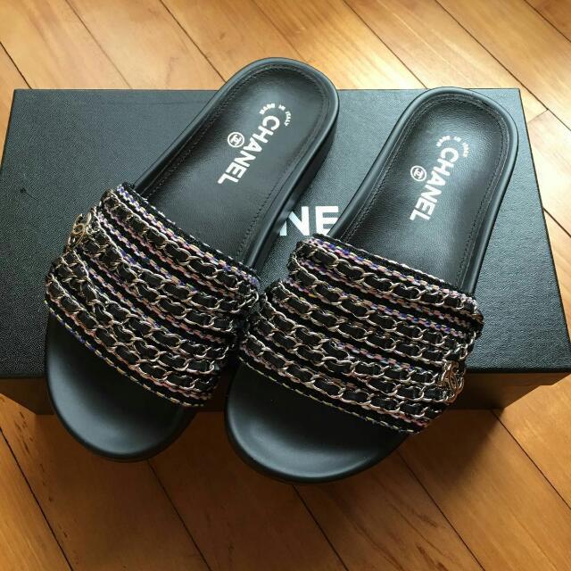 b314cf445b3e Chanel Sandal   Slipper Tweed With Chain