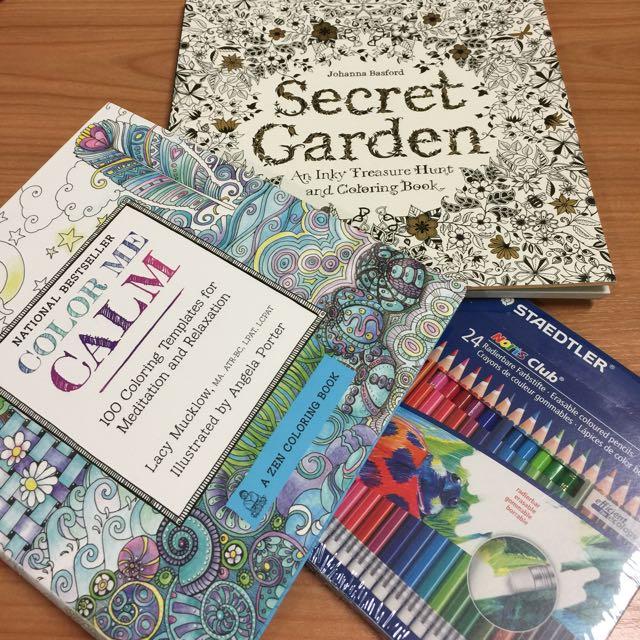 Colour Me Calm Zen Colouring Book Secret Garden Design Craft On Carousell