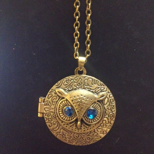 Owl locket necklace (opens with magnetic clasp)