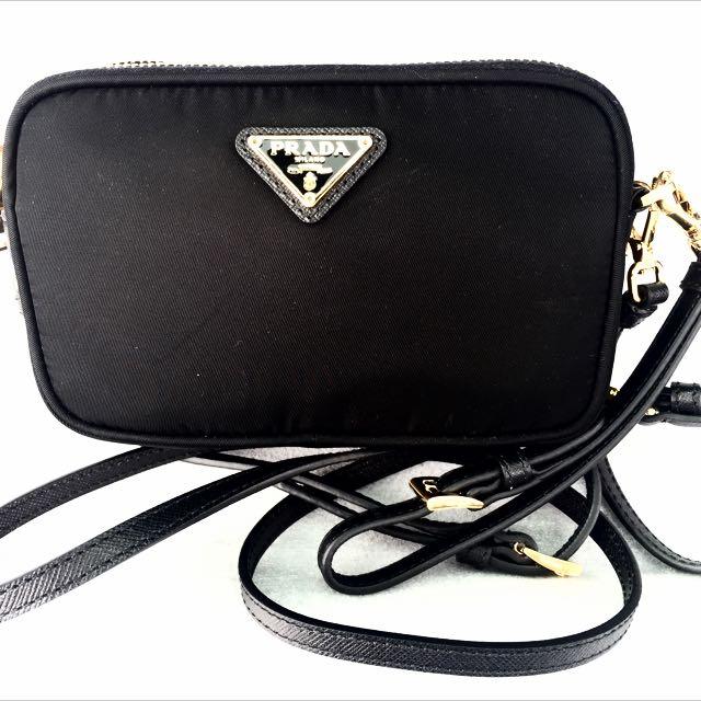 4eab9bfbd739 PRADA Small Black Tessuto Nylon Wristlet Crossbody Sling Bag 100%  AUTH+BRAND NEW!, Luxury on Carousell