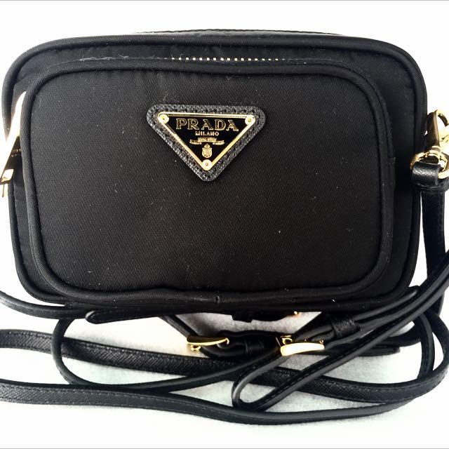 d5295745870e PRADA Small Black Tessuto Nylon Wristlet Crossbody Sling Bag 100 ...