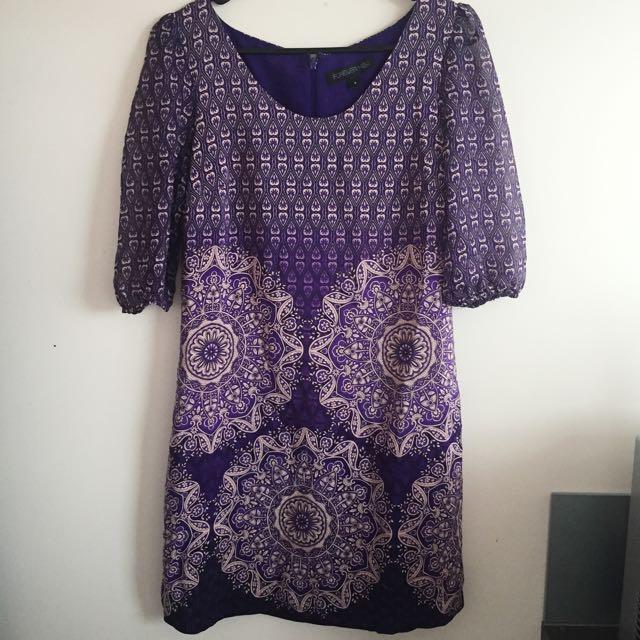Purple Patterned Shift Dress