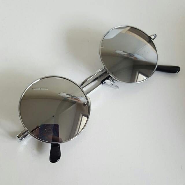 Silver Mirrored Circular Sunglasses