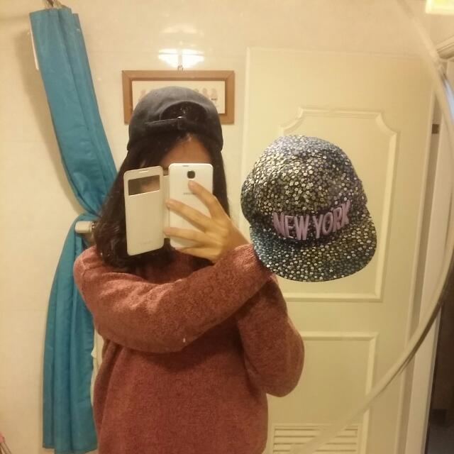 Stylenanda購入 韓國 紫色花花帽 韓國棒球帽壓舌帽