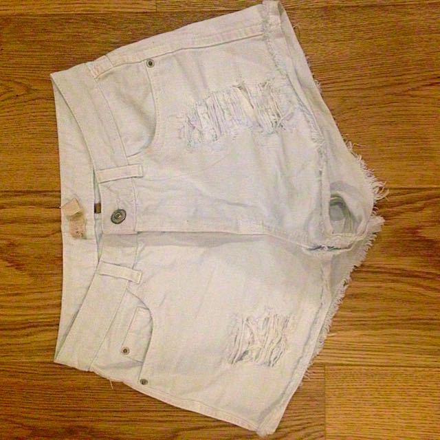 Top shop Ripped White Shorts
