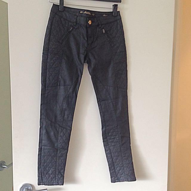 Zara Leather Look Biker Jeans/pants Size 36