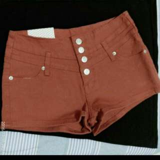 復古銀扣小高腰短褲