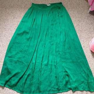 Green Long Skirt Size 10