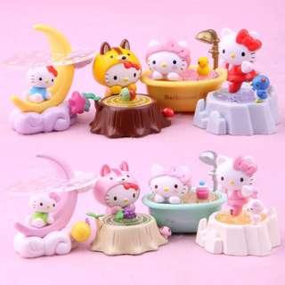 HELLO KITTY 盒玩  月亮 浴缸 造型系列公仔八隻組 有盒