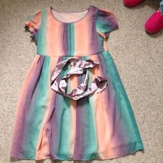 Rainbow Dress Free Size.