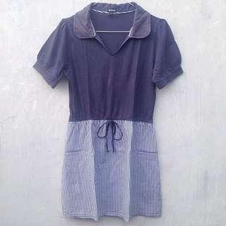 DISKON 30% Nevada Donker Blue Baby Doll Dress (navy Kotak-kotak)