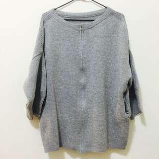 《灰色厚針織外套》