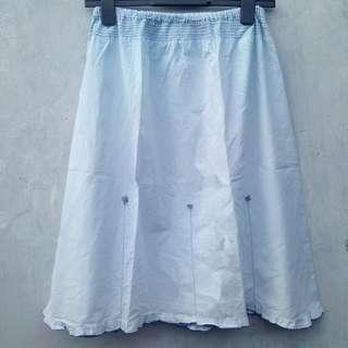 DISKON 50% Baby Blue Skirt (Rok Rampel Katun Wanita Murah)