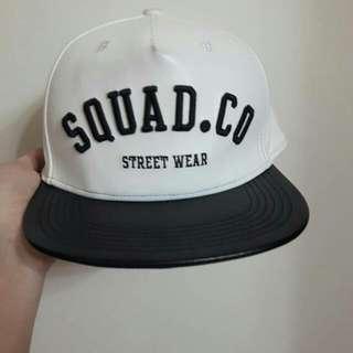 SQUAD白色星空皮革棒球帽