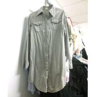 鐵灰色長版襯衫