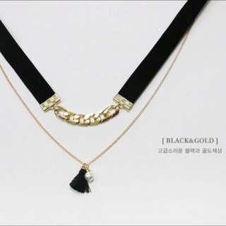 🚚 年終特惠 正韓鏈條緞帶雙層流蘇珍珠頸鏈