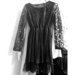 黑色蕾絲細褶雪紡洋裝
