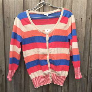 Pastel Stripe ¾ Sleeve Cardigan