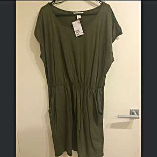 Casual Green Cotton Dress