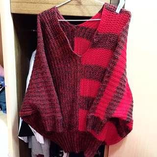 V領飛鼠顯瘦紅色毛衣