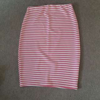 Red And White Striped Pencil Skirt