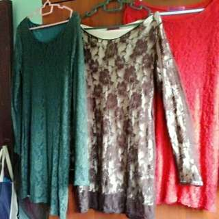 Blouse n also Baju Kurung Moden.. 1.hijau Lumut, 2.coklat 3.red  Kain Jenis Lycra Lace..tip Top Condition Top Only..
