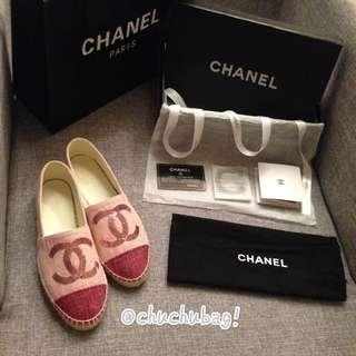 Chanel 亮片 草編 漁夫鞋