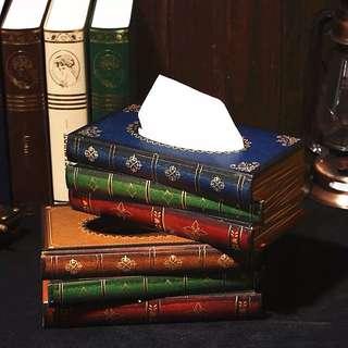 🚚 歐式古典書復古書籍原木衛生紙盒衛生紙套
