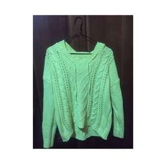 螢光黃針織毛衣