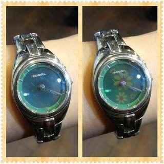 專櫃正品 FOSSIL銀色手表鍊表 黃綠色花卉閃爍錶 可變換小花圖案喔