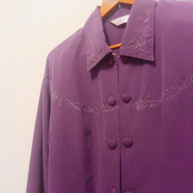 古著深紫刺繡襯衫