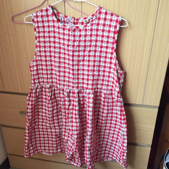 紅白小花格子洋裝