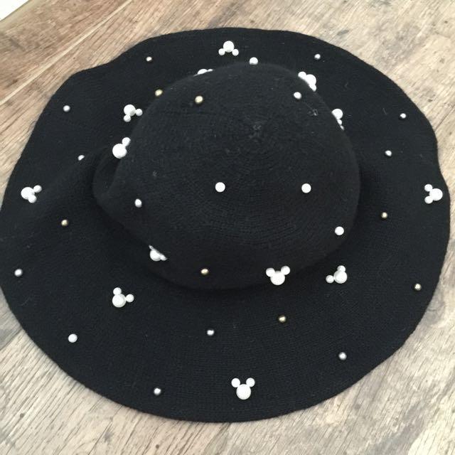 正韓米奇珍珠爵士帽