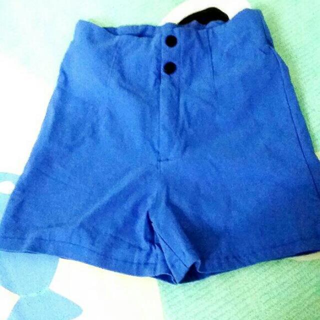 寶藍鬆緊短褲