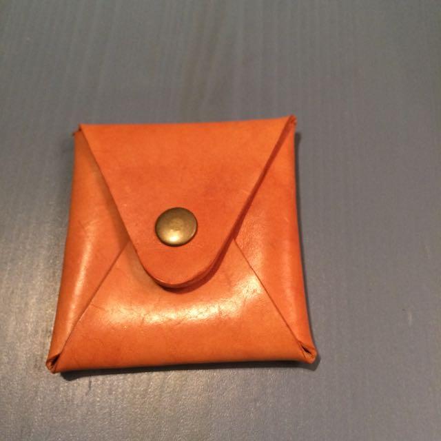 簡約手工皮革零錢包
