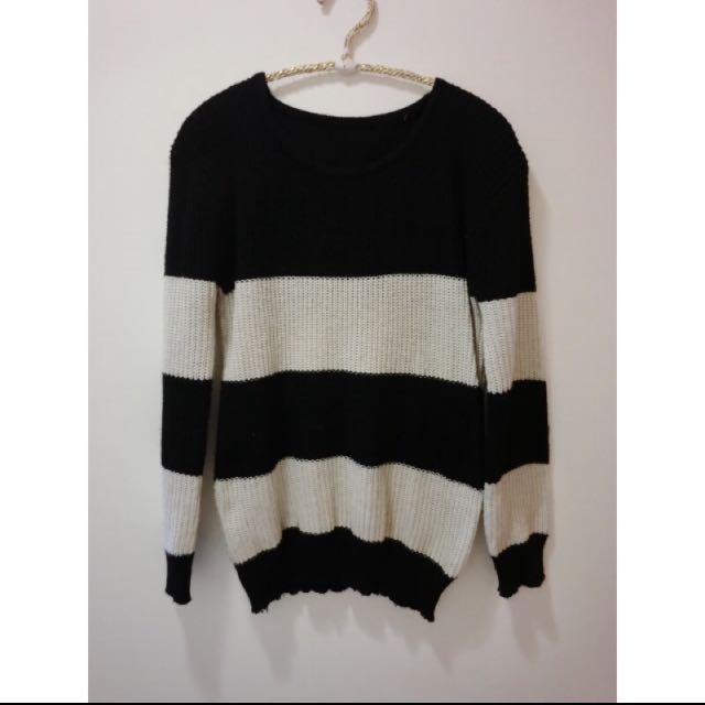 兩件黑白條紋毛衣