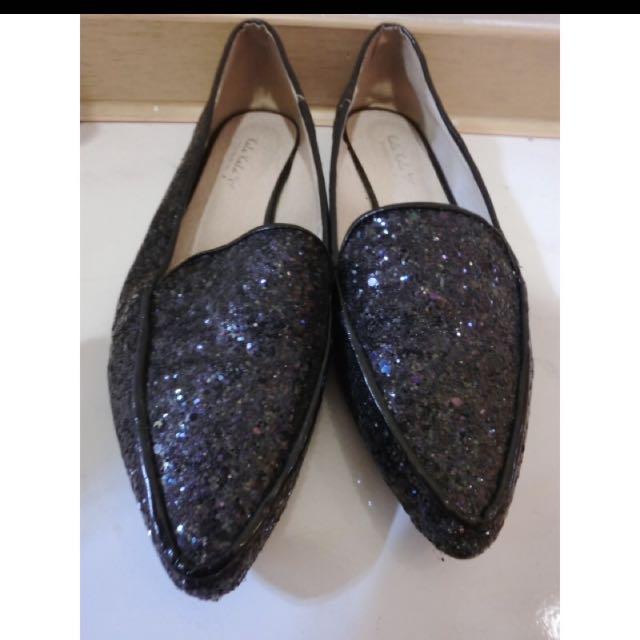 亮粉尖頭鞋