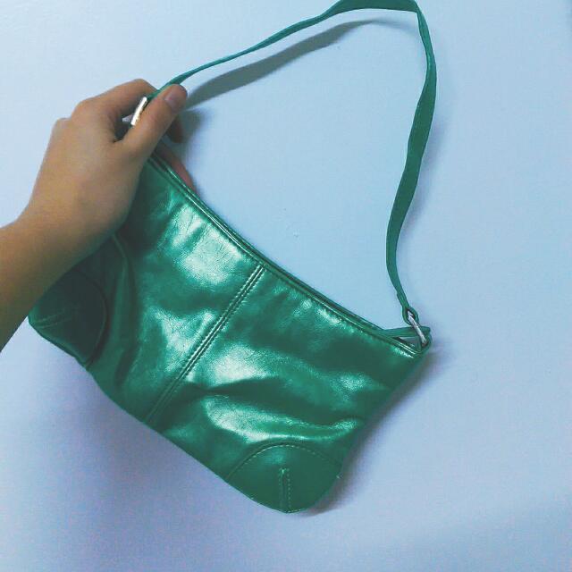 二手✌古著金屬螢光綠皮質小包