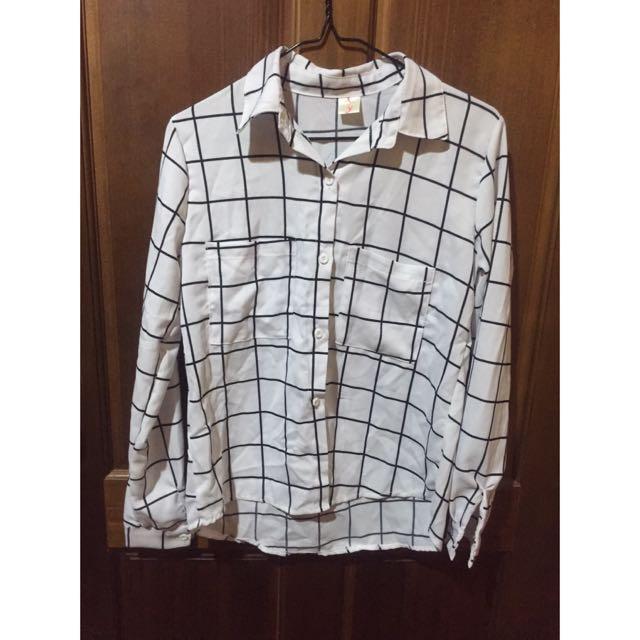 黑白格紋雪紡襯衫