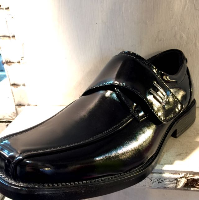 ☑️雅痞黑皮鞋-黏貼亮皮方頭款🔝(店到店免運)