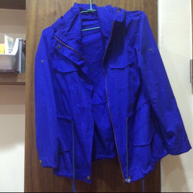 全新 寶藍色風衣外套