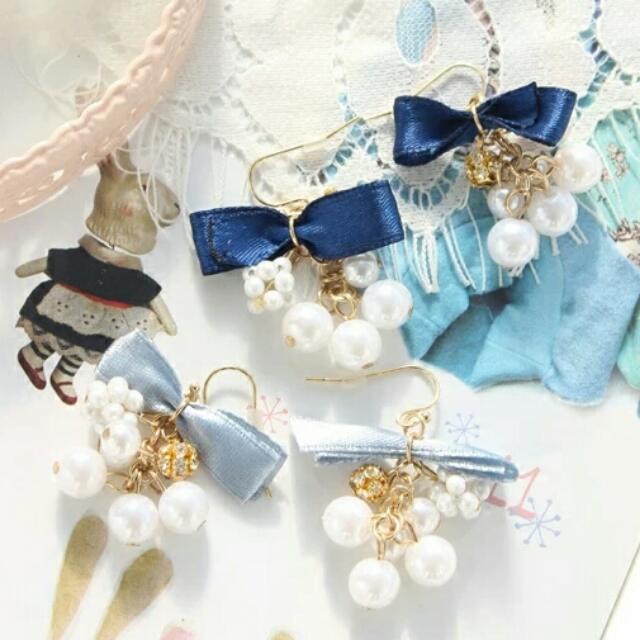 日系 珍珠緞帶蝴蝶結耳環 可改夾式